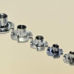 M4 Steel 4 Pronged T Nuts Bright Zinc Plated For Wood